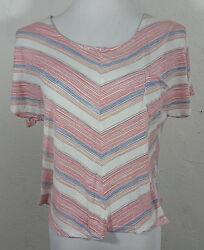 Kirra Womens Top Large Striped Chevron Open Back Pocket Short Sleeve Multi Color