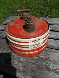 Vintage 1950's Cities Service Can, 2.5 Gallon Outboard Fuel Can, Cities Can