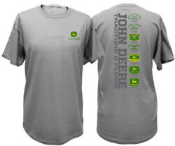 NEW John Deere Charcoal Gray T-Shirt Small Front Logo Sizes S M L XL 3X  $23.99