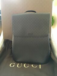 Menandrsquos Black Leather Backpack 368565 Aizig 1000-36 Brand New Rare Authentic