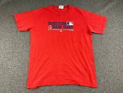 MAJESTIC MLB BOSTON RED SOX SPELLOUT RED T-SHIRT SIZE YOUTH LARGE WORN IN $7.69