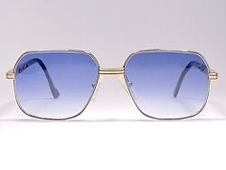 Vintage Essilor White And Yellow Plated Gold Medium Blue Lens Sunglasses 1980's