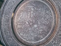 Pershian Art Exhibition Solid Silver Round Tray By Master Lahiji