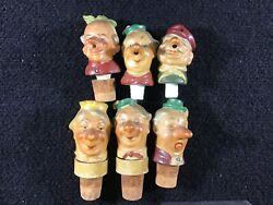 Vintage 1900's German Bisque Wine Bottle Toppers Humorous Character Faces Lot/ 6