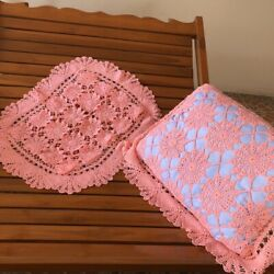 Vintage Lace Embroidered Hand Crocheted Pillowcases Natural Cotton Cover Cushion