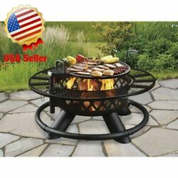New 47 Ranch Fire Pit With Grill Heavy Duty Table Ring Garden Backyard Firepit