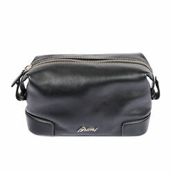 Brioni Black Leather Logo Cosmetic Dopp Kit Bag NEW $499.00