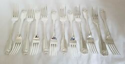 Antique Sterling Silver Table Forks.fiddle And Thread.london 1824.by George Piercy