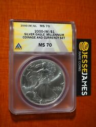2000 W 1 American Silver Eagle Anacs Ms70 From Millennium Coin And Currency Set