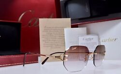 New Cartier Rimless SOLID GOLD 750 Sunglasses Occhiali Oro C Decor LA DONA 2008