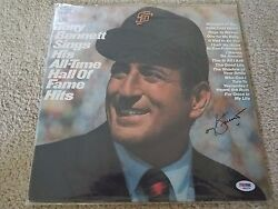 Tony Bennett Sings His All-time Hof Hits Signed Autograph Vinyl Lp Album Psa Loa