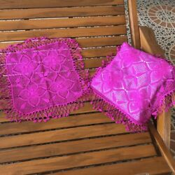 Lace Embroidered Hand Crocheted Pillowcases Natural Cotton Pink Cushion Vintage