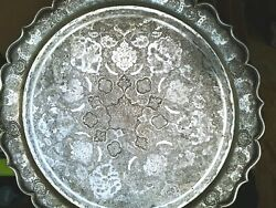 Pershian Art Exhibition, X Large Antique Solid Silver Round Tray