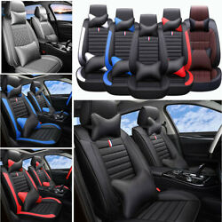 14pcs Car Seat Cover Front And Rear Interior Leather Protector 5-sit Cushion Set