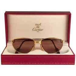 VINTAGE CARTIER PANTHERE WINDSOR 57MM CAT EYE SUNGLASSES FRANCE 18K HEAVY PLATED