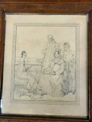 Jean Auguste Dominique Ingres Pencil Sketch Of Stamarty Family In Wooden Frame