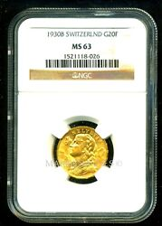 Switzerland 1930 B Gold Coin 20 Francs Ngc Certified Genuine Ms 63 Lustrous