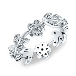 Floral Leaves Flowers Diamond Fashion Right Hand Ring 14k White Gold 0.40 Tcw