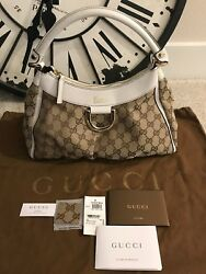 NEW GUCCI GOLD D RING ABBEY GUCCISIMMA GG CANVAS HOBO BAG BEIGE white AUTH $760.00