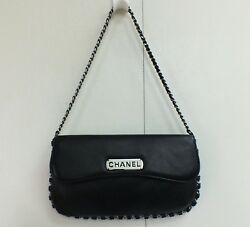 Chanel Flap Bag Black Lamb Leather Clutch Pochette Chain Purse 2004 Designer