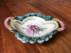 Vintage Lefton China Hand Painted Floral Handled Serving Bowl/candy Dish