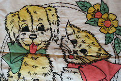 Vintage Vogart Tinted Embroidered Pillow Cover Cute Kitty And Puppy