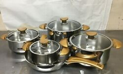 O.m.s. Collection 9 Piece Pan Set Stainless Steel Silicone Covered Handles Gold
