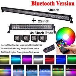 50inch + 22 Led Light Bar + 4x 3 Spot Pods W/ Rgb Halo Chasing Color Changing