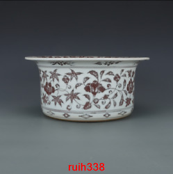 13.6 Old China Antique Ming Dynasty Red Twine Decorative Pattern Wash Basin