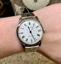 Wqw Nos Vintage Mens Silver Benrus Manual Wind Swiss Watch With Original Tags