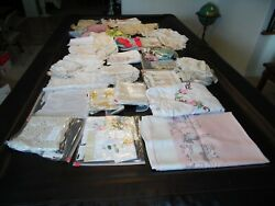 Vintage Lot Of 80 Doilies Linen Table Cloths Aprons Doll Clothes Scarfs 9+ Lbs