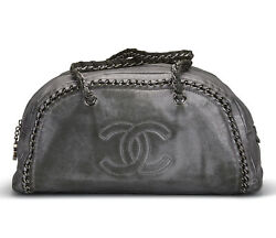 RARE Authentic Chanel Vintage Luxe Ligne Metallic Silver Leather Bowling Bag $1,595.00