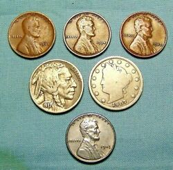 1 Lot of Old US Coins Buffalo Liberty NickelSteel Cent with 3 WHEAT LINCOLNS