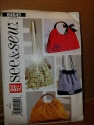 Patterns See amp; Sew # B4645 Bags Handbags Totes Open Uncut amp; Instructions $5.99