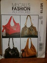 Patterns McCall#x27;s # M5719 Bags Handbags Totes Open Uncut With Instructions $5.99