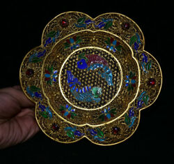 6 Rare Old Chinese Royal Palace Copper Gold Wire Painted Two Fish Flower Plate