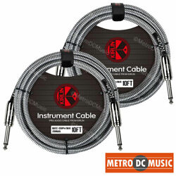 2-pack Kirlin 10ft Black Woven Guitar Bass Instrument Cord Cable 20awg 1/4 New
