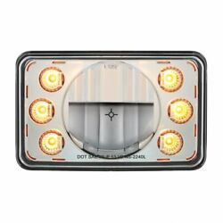 Led 4-in X 6-in Headlight W/ Dual Function 6 Amber Led Position Light - Low Beam