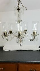Vintage 5 Arm Glass And Crystal Chandelier With Prisms
