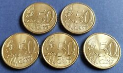Set Coins Five Pieces 50 Cents € Spain Minting December 2019 Proof Condition.