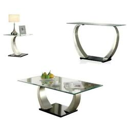 3 Piece Glass Top Contemporary Coffee Table Set In Satin Plated