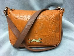 BIMBA Y LOLA Orange Tooled Leather Crossbody Bag Shoulder Handbag $34.00