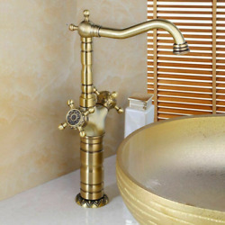 Long Faucet Bathroom Sinks Lavatory Waterfall Spout Deck Mounted Faucets Vintage
