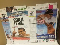 Kelloggs Corn Flakes Flat Box Michael Phelps 8 For 8 2008 With Autograph