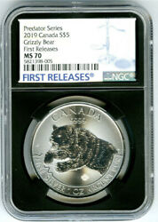 2019 5 Canada 1 Oz Silver Grizzly Bear Ngc Ms70 Rare First Releases