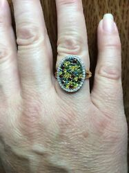 New 10k Yellow Gold Irratiated Multi-color Diamond Disc Cocktail Ring 4g Sz 8