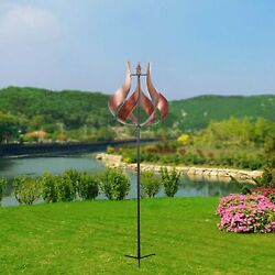 Outdoor Tulip Kinetic Wind Spinner Windmill Metal Stake 70 Inch Height Copper
