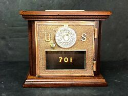 Antique Us Post Office Box Door Bank Mahogany Dial And Pointer 1896 2 Size Rare