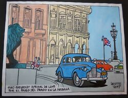 Cuba Classic Car Drawing 1940 Chevy Deluxe By Lacoste From Cuban Poster Gallery