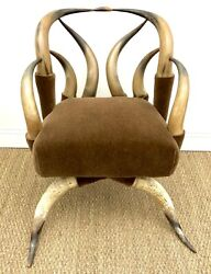An Antique C.1880 American Steer Horn Arm Chair Attributed To Charles Fletcher